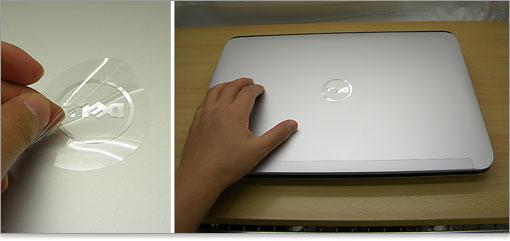 2ffdeb7f5a 天板のDELLロゴを保護しているシールを剥がす。